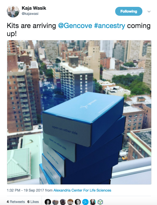 DNA kits from customers at Gencove's NYC lab