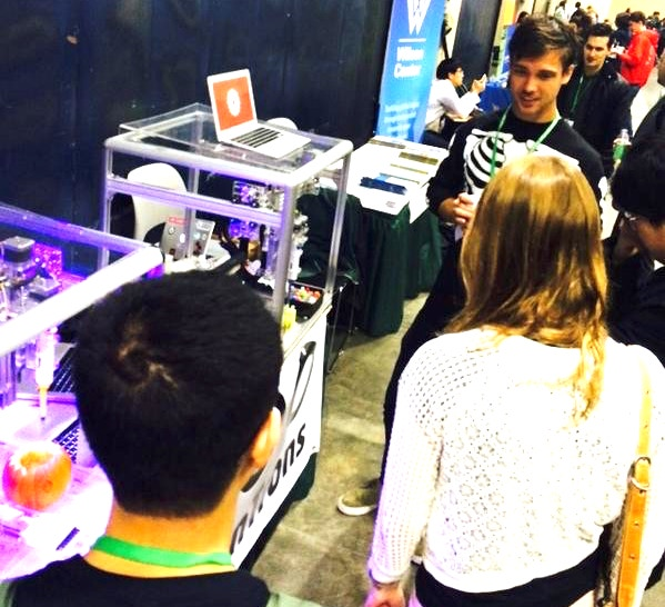 Will Canine, co-founder of Opentrons, showing the OT-One at the iGEM Jamboree on Halloween 2014
