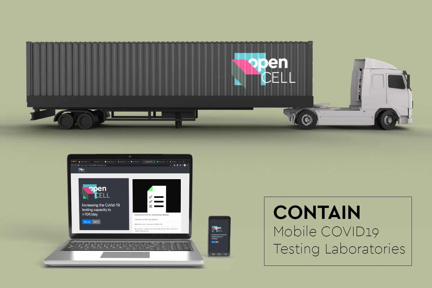 Figure showing shipping container on a truck deploying COVID19 testing labs
